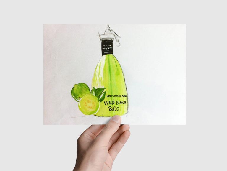Elodie Chazalon freelance portfolio dessins d'une bouteille de jus de fruits