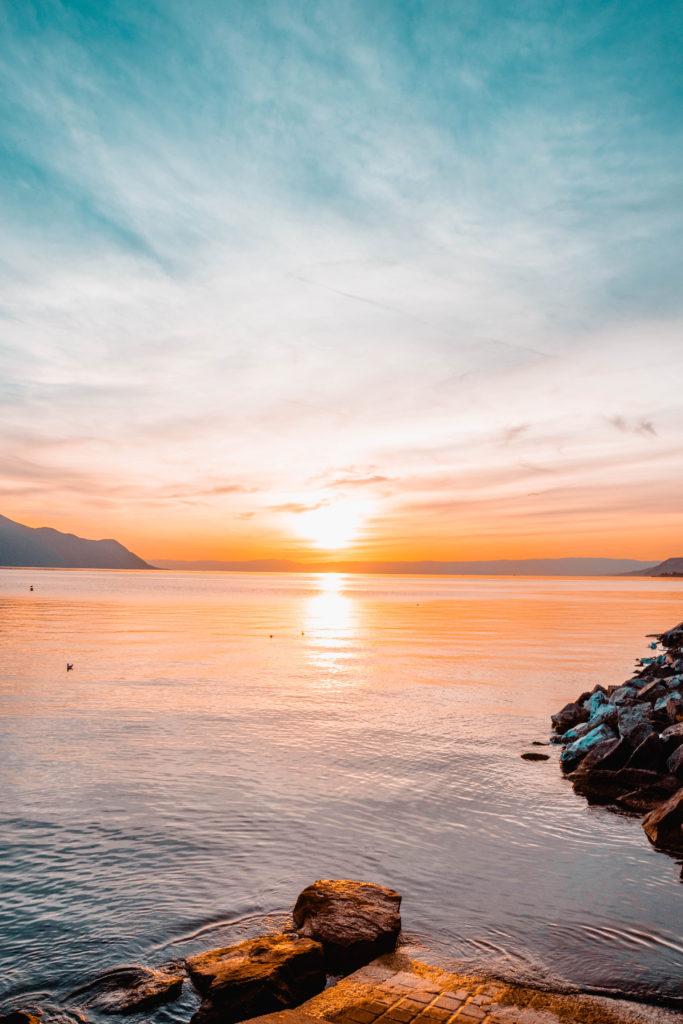 Lac Leman, coucher de soleil