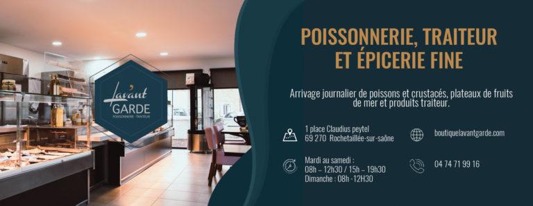 Encart publicitaire pour la poissonnerie l'Avant Garde à Rochetaillée-sur-saône